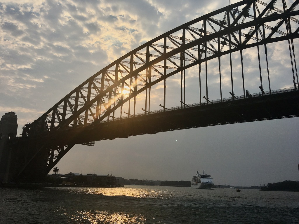 A picture of Sydney Harbour Bridge at sunset.