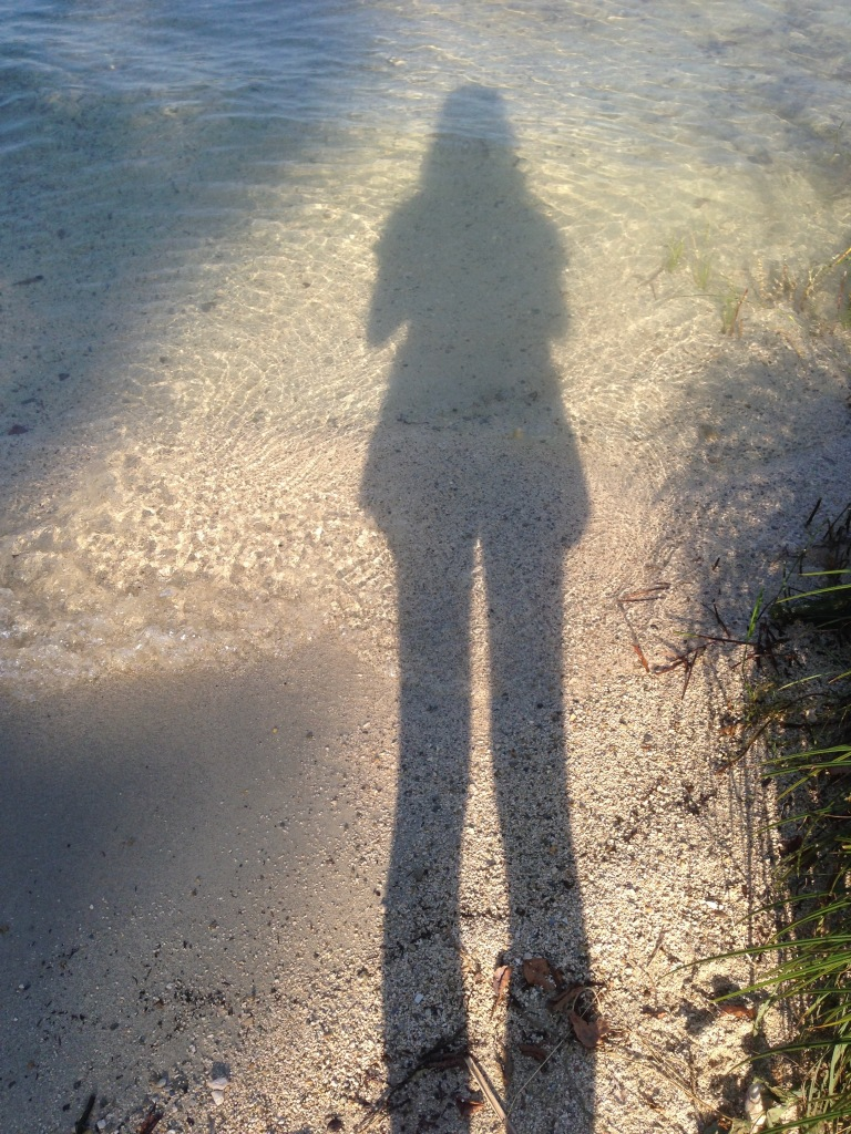 A shadow of a woman in a clear, shallow part of a lake.